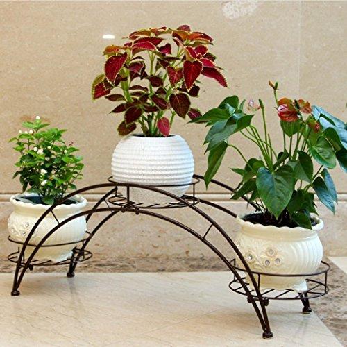 Arched Iron Art Plant Shelf Européen - Style Indoor And Outdoor Flower Stand Balcon Floor Flower Pots Shelf Multi-Color Optionnel (Couleur : Bronze)