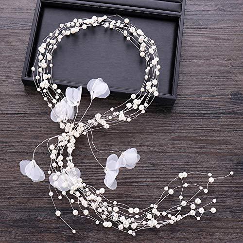 iSpchen Braut Brautjungfer Vintage Hairbands Kristall Perle Reben Kopfschmuck Hochzeit Floral Stirnband Haarschmuck Dekoration Frauen Damen Weiß