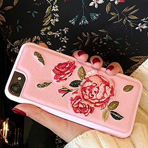 Mobiltelefonhülle - Für iPhone 7 Stickerei Blumen PU Leder Schutzhülle Abdeckung Hard Case ( Farbe : Schwarz ) Rosa