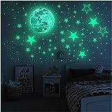 Glow in The Dark Stars muurstickers, sterren en volle maan voor sterrenhemel, 437 glanzende decoratie voor meisjes en jongens