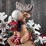 Deko Figur Elch kniend mit Laterne Rentier Rudi 40 cm Weihnachten xmas neu