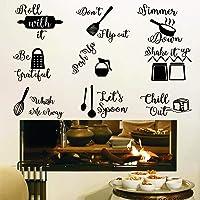 Noir cuisine Sticker Mural,Autocollant Muraux Citations Drôles en Anglais,Minimalistes Autocollant Muraux pour Cuisine…