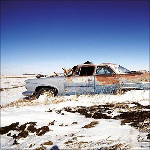 artissimo, Glasbild, 50x50cm, AG8072A, Lost in desert III, rostiger Oldtimer, vintage Auto, Bild aus Glas, moderne Wanddekoration aus Glas, Wandbild Wohnzimmer modern (Rostige Autos)