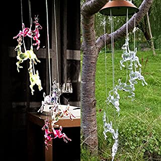 AUTOPkio Color-Changing LED Solar Wind Chime, LED Changing Light Color Waterproof Christmas Elk Wind Chimes, Xmas Deer String Night Garden lights for Home, Party Decoration, Gifts