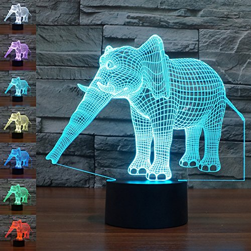 3d Illusion Lamp jawell Night Light Elephant 7Changing Colors Touch USB Table...
