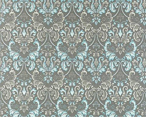 Vliestapete Barock-Tapete XXL EDEM 966-27 Muster Ornament klassisch grau türkis | 10,65 qm