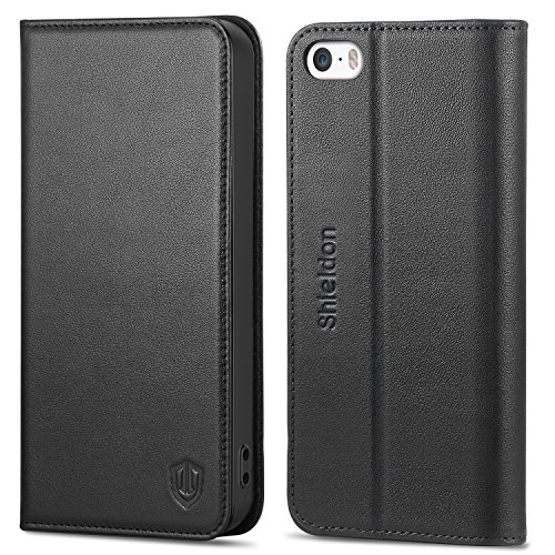 SHIELDON Funda iPhone SE, Funda iPhone 5, Funda Cuero Genuino para iPhone 5S, Carcasa en Libro,...