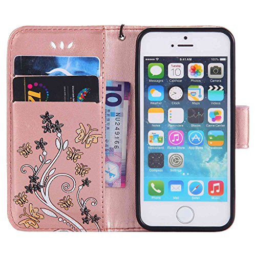 """MOONCASE iPhone 5c Coque, [Embossed Pattern] Durable PU Cuir Portefeuille Housse pour iPhone 5c 4.0"""" Anti-dérapante Anti-choc Protection Etui Cases Violet Or Rose"""
