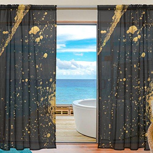 yibaihe Fenster Vorhänge, Gardinen Platten Fenster Behandlung Set Voile Drapes Tüll Vorhänge, Gold und Schwarz Tinte Muster 2Einsätze für Wohnzimmer Schlafzimmer,(140cm x 213cm ) -