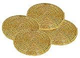 Set von 4 Esstisch Untersetzer handgemachte Glasperle Gold Gläser Tischdekoration - 10 cm