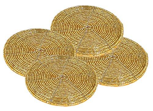 Perle Untersetzer (4er Set Handgemacht Untersetzer Antik Gold Perlen Klein Untersetzer für Küche - 10 Cm)
