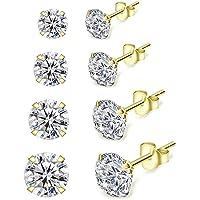 Shuxin Silver Stud Earrings for Women, 4 Pairs 925 Sterling Silver Cubic Zirconia Stud Earrings Set, Small Sleeper…