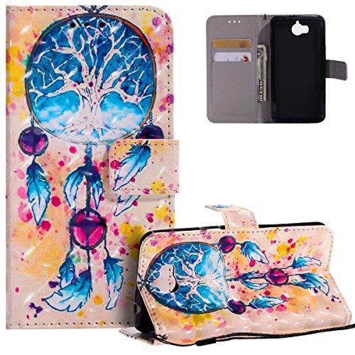 Preisvergleich Produktbild HMTECH Huawei Y5 2017 Hülle Luxus 3D Blau Traumfänger Flip Standfunktion Karten Slot Magnetverschluß Brieftasche Taschen Schalen Handy für Huawei Y5 2017, Blue Campanula KT
