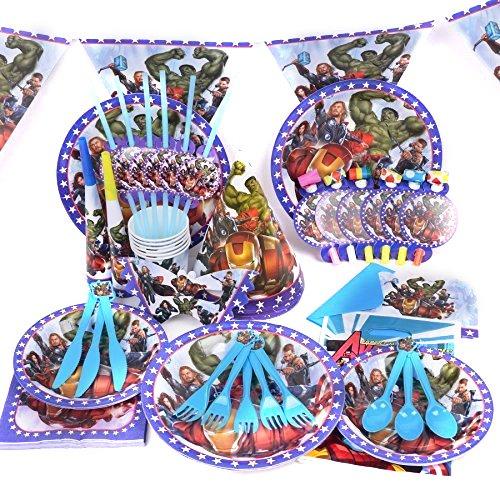 Marvel 's Avenger-Geburtstag Hochzeit Party Dekoration Geschirr Cartoon 16Pack Kit von trimmen Shop (blau) (Disney Mickey Mouse Scene Setter Dekoration Set)