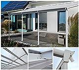 Home Deluxe Terrassenüberdachung | weiß | Inkl. komplettem Zubehör | 495 x 303 x 206 / 258 cm