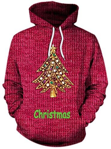 Damen Sweatshirts Weihnachten Pullover mit Tasche Druck Hässliche Weihnachtsbaum Weihnachtsmotiv Hemd Kapuzenpullover Langarm Top Jumper Shirt Herbst Winter M