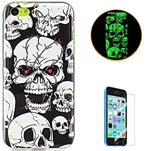 KaseHom for iPhone 5C Soft Silicone Gel Case Luminous Effect Shock Absorption Cover Excellent Dustproof Jelly Clear TPU Rubber Skin Protective Bumper Shell for Apple iPhone 5C - Skull Red Eyes