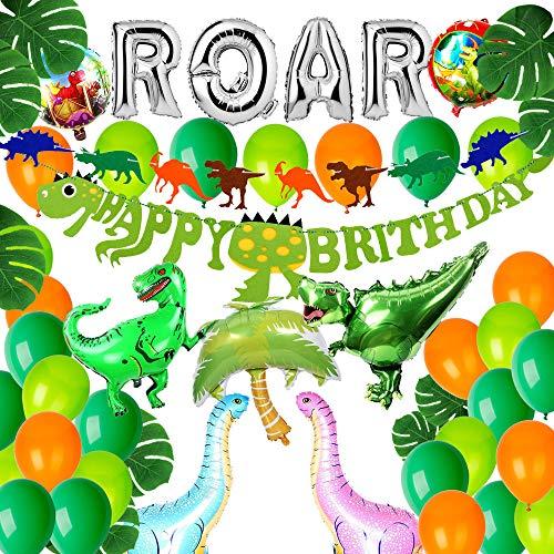 Puselo Dinosaurier Geburtstag Party Dekoration, Dinosaurier Happy Birthday Banner,56 Stück Dinosaurier Geburtstag Set für Kinder