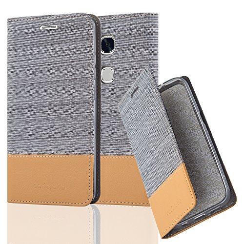 Cadorabo Hülle für Honor 5X / Play 5X / Huawei GR5 - Hülle in HELL GRAU BRAUN – Handyhülle mit Standfunktion und Kartenfach im Stoff Design - Case Cover Schutzhülle Etui Tasche Book