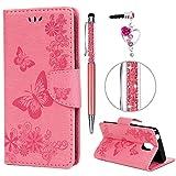 iAdvantec Wiko Lenny 5 Hülle Case, Filp PU Leder Wallet Handyhülle Flipcase : Bookstyle Schmetterlingsprägung Tasche Brieftasche Schutzhülle in Rosa + Anti Staub Stöpsel + Stylus