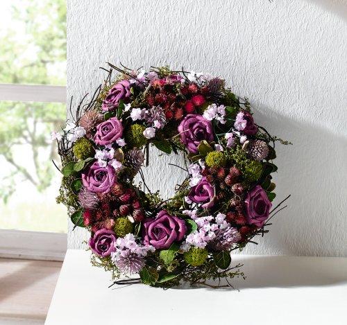 """Deko Kranz\""""Lila Rose\"""" aus Naturmaterialien und Textilblüten, Hochzeitsdeko, Tischkranz, Wandkranz"""