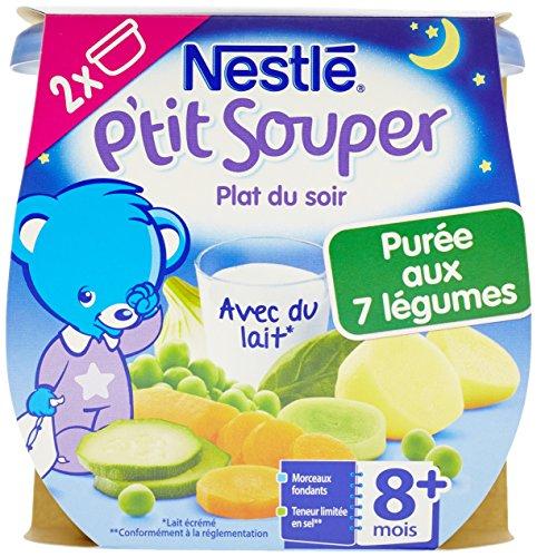 Nestlé Bébé P'tit Souper Purée du Soir aux 7 Légumes dès 8 mois 2 x 200g - Lot de 8