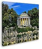 deyoli schöner Pavillon in Gartenanlage im Format: 60x60 Effekt: Zeichnung als Leinwandbild, Motiv auf Echtholzrahmen, Hochwertiger Digitaldruck mit Rahmen, Kein Poster oder Plakat