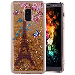 Amcor Love 3D Glitter Liquid Sparkly Shiny Floating Sparkly Luxury Clear Case Cover for Samsung Galaxy A8 Plus Smartphone Tower Eiffel