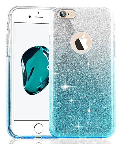 Coque Housse Etui pour iPhone 7/iPhone 8, iPhone 7/8 d'or Coque en Silicone Placage Coque Clair Ultra-Mince Etui Housse Glitter Paillette,iPhone 7 Silicone Case Gold Slim Soft Gel Cover with Diamond,  Triple Glitter-Gradient Bleu