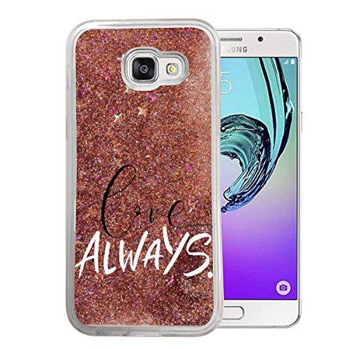 Samsung Galaxy A3 2017 Flüssige Liquid Rose Goldene Glitzer Bling Bling Handyhülle von finoo mit Motiv - Rundum Silikon Schutzhülle + Muster - Weicher TPU Bumper Case Cover - Love Always