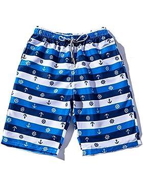 Zgsjbmh Pantalones Cortos de Deportes al Aire Libre Ligeros Pantalones de Playa Sueltos de Secado Rápido Rayas...
