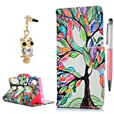 Sony Xperia XA1 Wallet Case, YOKIRIN Premium Soft PU Leather Notebook Wallet Case Kickstand Function Card Holder Slots Protective Skin Cover Phone Case for Sony Xperia XA1 with Dust Plug and Stylus Pen, Colorful Tree