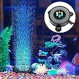 YIDAINLINE LED Aquarium Bubble Air Stone Light Luft Stein, mehrfarbige Luftblasensteinscheibe Stein Lichtpumpe Lampe für Fische Unterwasserbeleuchtung Luftpumpe und Beleuchtung Teich Brunnen Garten