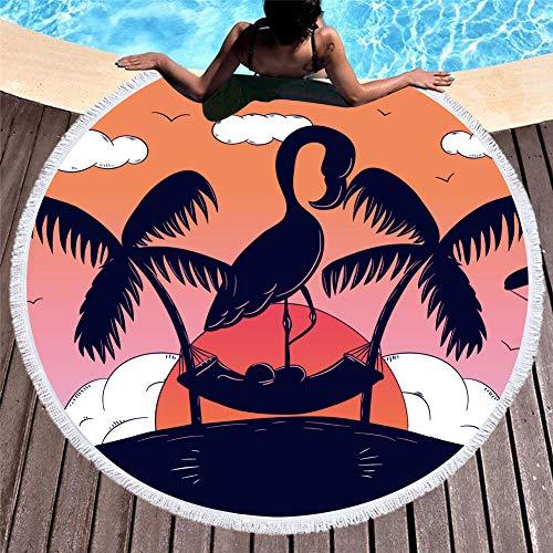 Vanzelu Runder Flamingo-Strandtuch Aus Mikrofaser Für Picknick Im Freien Im Garten, Größe 150X150Cm-G