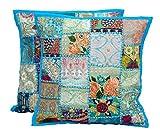 2klassische Patchwork-Kissenbezüge von Handicraftsuk, in Indien handgefertigt, mit Pailletten, dekorativ bestickt, 40x 40cm, ein exklusives Deko-Kissenbezug türkis