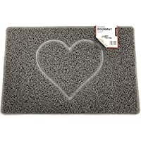 Nicoman HEART Embossed Shape Door Mat Dirt-Trapper Washable Barrier Doormat【Use Indoor or Sheltered Outdoor 】(75x44cm/29.5x17.3inches,Medium) GREY