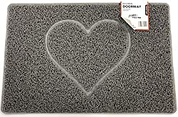 HEART Embossed Shape Door Mat Dirt-Trapper Jet-Washable Doormat-(Use Indoor or Sheltered Outdoor)-(60x40cm/23.6x15.7inches, Small) Grey