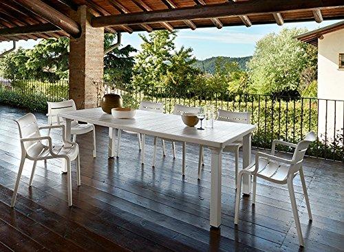 Ideapiu Table en tecnopolimero, pour extérieur, Extensible de 170 à 220 cmx100pfx75h. Couleur : Lin