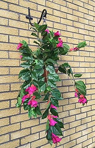 Best Artificial 80cm Panier suspendu 3m Bougainvillier Plante intérieur extérieur en soie artificielle Fleurs Jardin rose