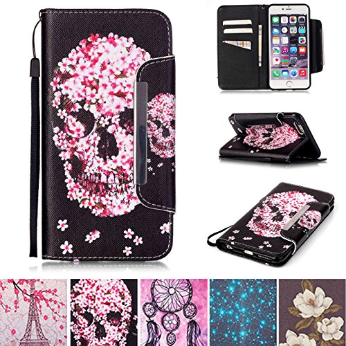 "iPhone 6 Plus/6S Plus Fall, [Slots] [Standfuß] Flip Folio Brieftasche Fall Kunstleder Shell kratzfest Schutzhülle für Apple iPhone 6 Plus/6S Plus 14 cm Apple iPhone 6 Plus / 6S Plus 5.5"" totenkopf"