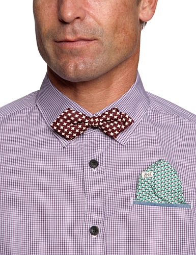 Scotch & Soda Herren Freizeithemd 13040820037 Dress shirt with clip bowtie/ pochet Mehrfarbig (A - dessin A)