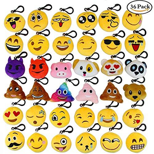 Aiduy Mini Emoji Plüsch Schlüsselanhänger 5CM Emoji Kissen Plüschtiere Party Favors für Babys Set von (Für Dekorationen Klassenzimmer Halloween)