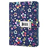Nainaiwu Journal Notebook Record Diary with lock Beautiful Flower PU Leather Cover Writing