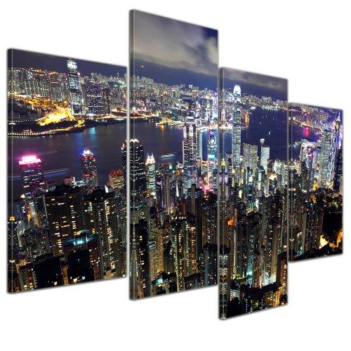 Kunstdruck - Hong Kong City at Night - Bild auf Leinwand - 120x80 cm 4 teilig - Leinwandbilder - Bilder als Leinwanddruck - Wandbild von Bilderdepot24 - Städte & Kulturen - Asien - China - Skyline von Hong Kong