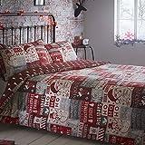 Tony's Textiles - Juego de cama de Papá Noel - Fundas para el edredón y la almohada - Ho Ho Ho - Matrimonio