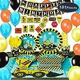 WERNNSAI Set di Articoli per Feste Costruzione - 181 PCS Camion Decorazione per Feste di Compleanno per Ragazzi Piatti Tovaglie Borsa per Posate Copritavolo Coppe Cannucce Utensili Serve 16 Ospiti