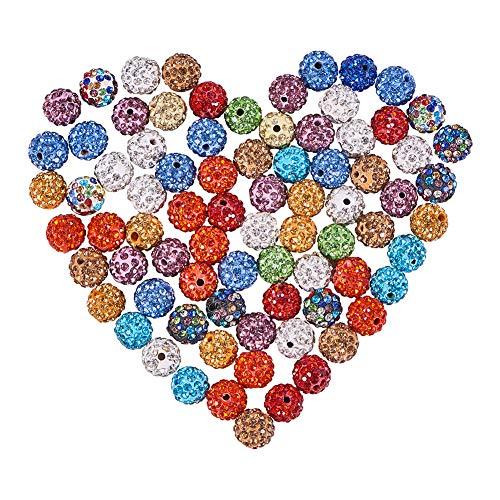 NBEADS 100 STÜCKE Mischfarbe Pflastern Disco-Kugel Perlen, 10mm Ton Strass Kristall Shamballa Perlen für DIY Schmuck machen - Perlen Kristall