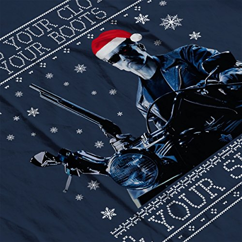 I Need Your Clothes Terminator Christmas Knit Men's Vest Navy Blue