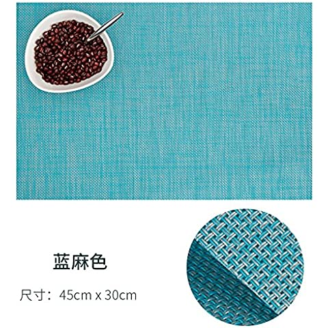 yifom cibo isolato in pvc tovagliette per Pad, 4piatti piani Blue linen
