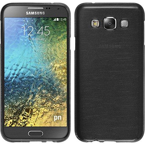 PhoneNatic Case für Samsung Galaxy E7 Hülle Silikon Silber, Brushed + 2 Schutzfolien